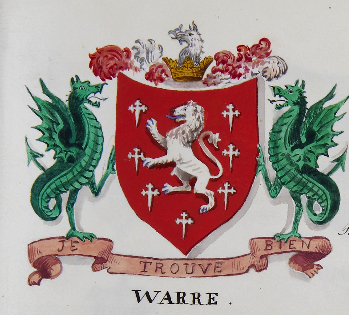 Fig. 12 Shield of the Warre family. In heraldic terms: Gules (red), crusuly fitchee (crosses with pointed bottoms), a lion rampant (lion standing on its hind legs) argent (silver).