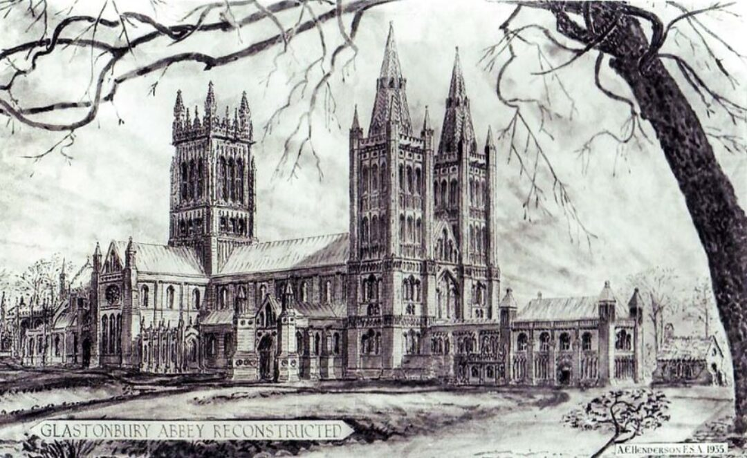 Fig 2 Glastonbury Abbey before the fire of 1184 Reconstruction
