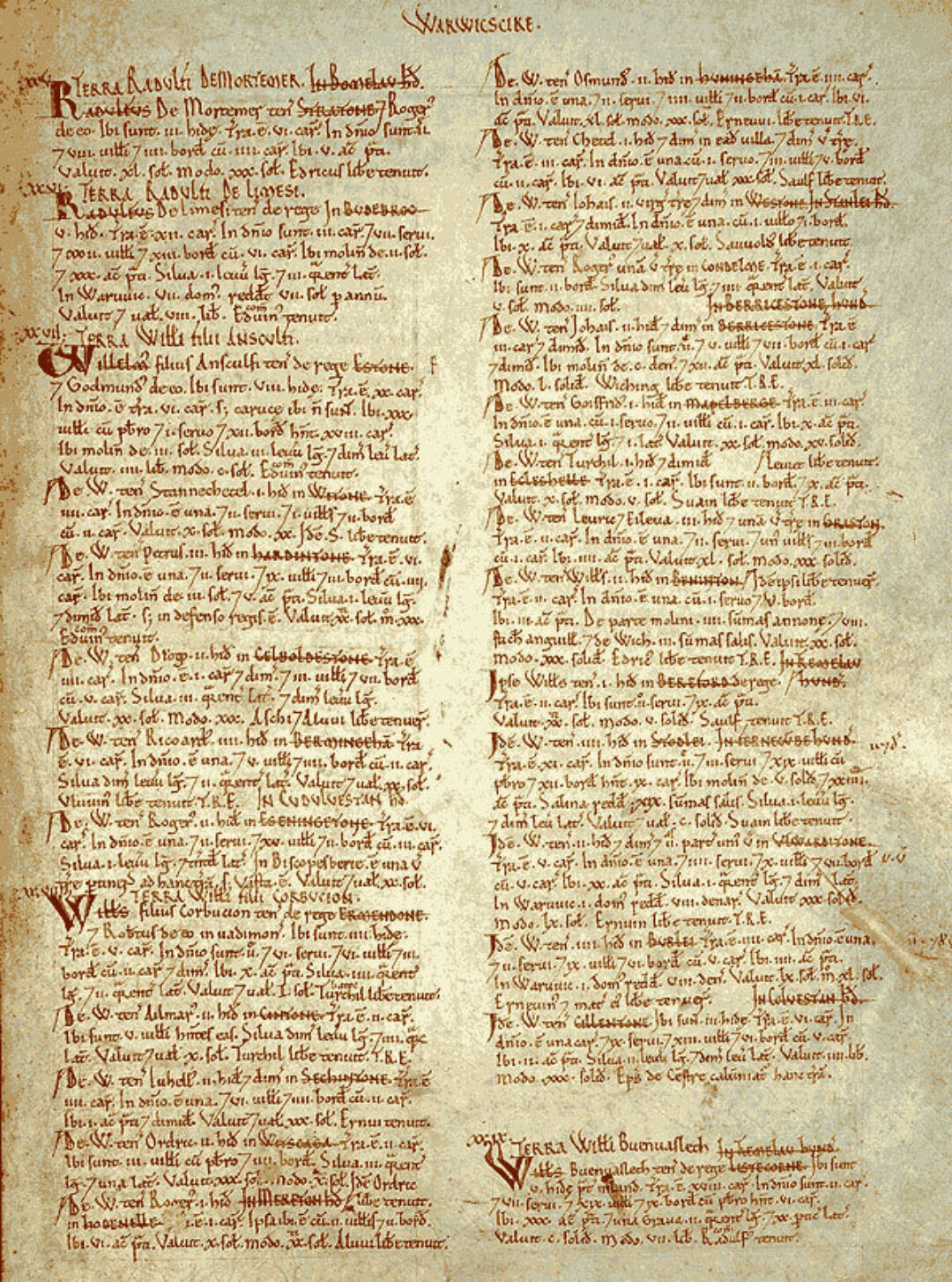 Fig 6 Page from Domesday survey of Warwickshire