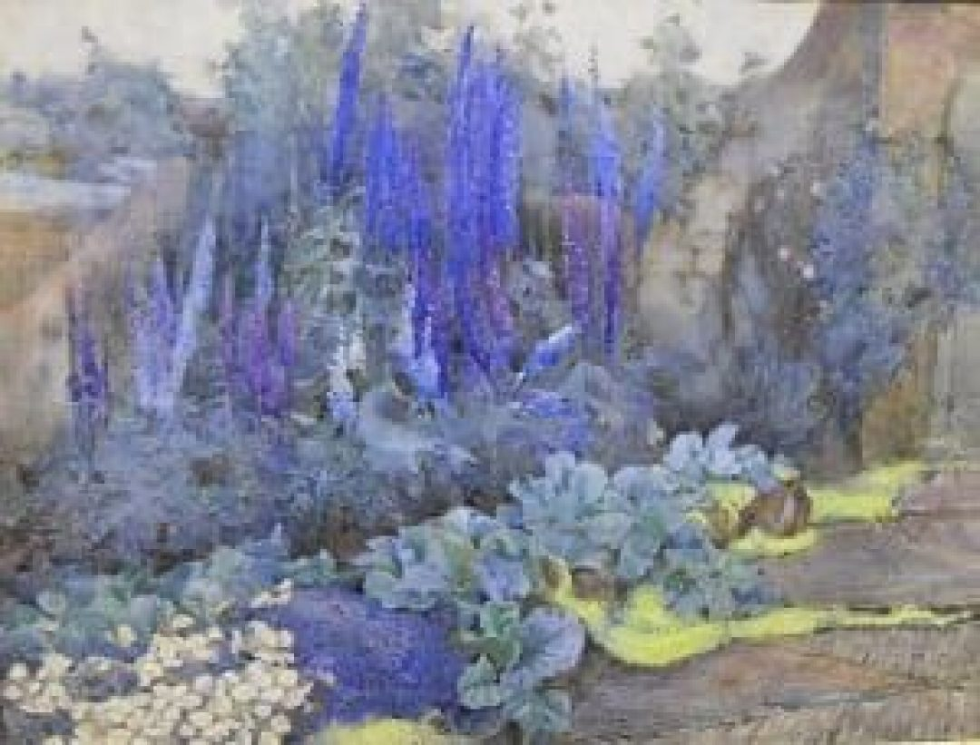 HENRY GEORGE MOON 1857 1905 In the flower border at Munstead