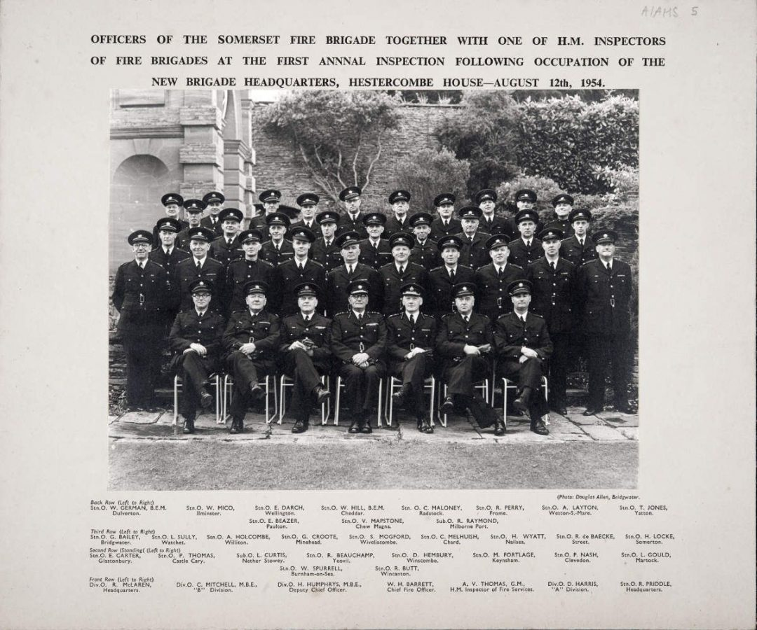 Fig 1 Somerset Fire Brigade officers inspection Aug 1954 somerset fire brigade hestercombe