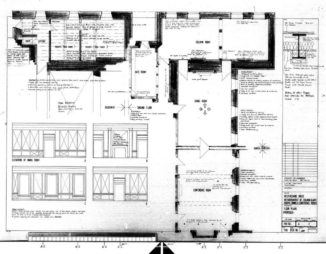 Fig. 5 – Plan. Hestercombe House Refurbishment of Column & Ante Rooms, Dining and Conference Rooms. County Architect, G. W. Hill. February 1986.