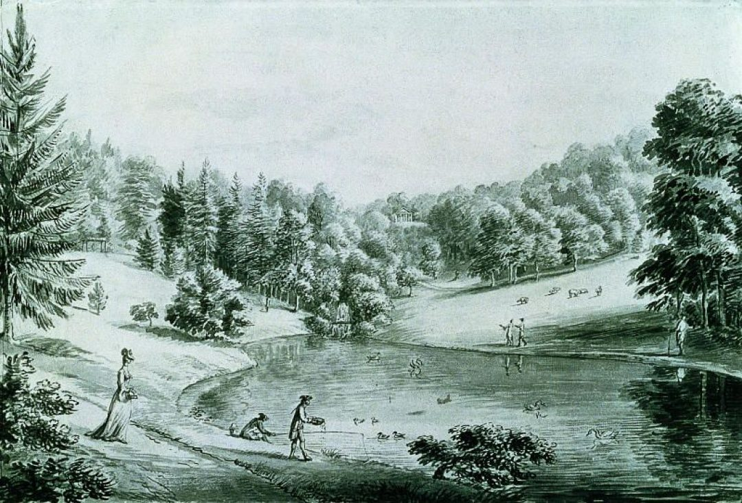 The Pear Pond at Hestercombe c.1777 by Coplestone Warre Bampfylde (copyright Hestercombe Gardens Trust)