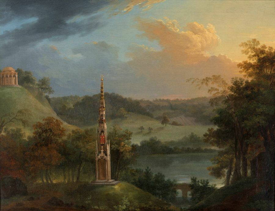Park at Stourhead with Bristol High Cross etc, after 1763