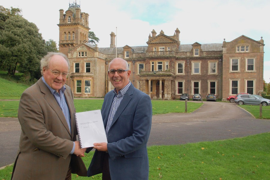Sir Andrew Burns KCMG & Philip White MBE with the deeds to Hestercombe House, October 2013