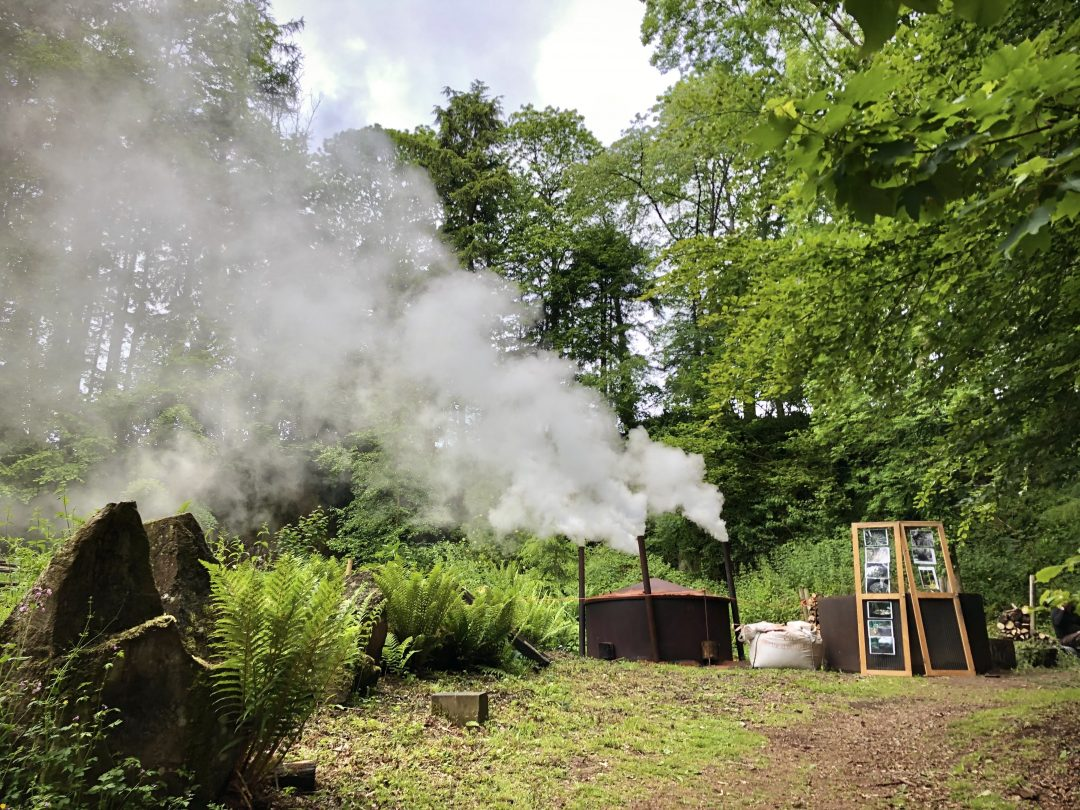A traditional charcoal burn at Hestercombe