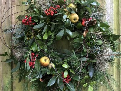 Christmas Wreath Making Workshop at Hestercombe Gardens, with Blue Shed Flowers