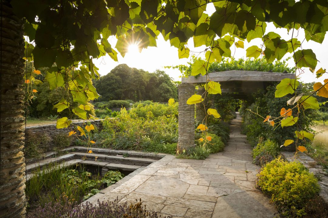 The peaceful pergola in the formal gardens at Hestercombe