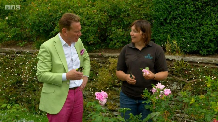 Claire Greenslade filming with Michael Portillo for the BBC's Great Train Journeys at Hestercombe