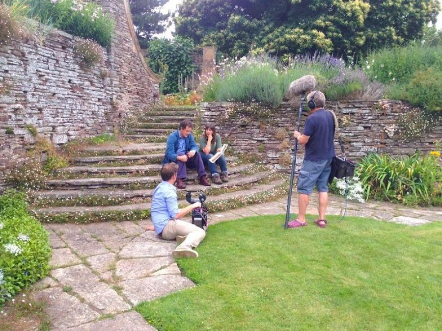 Claire Greenslade filming with Monty Don at Hestercombe